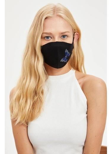 DeFacto Kelebek İşlemeli Yıkanabilir Maske Siyah
